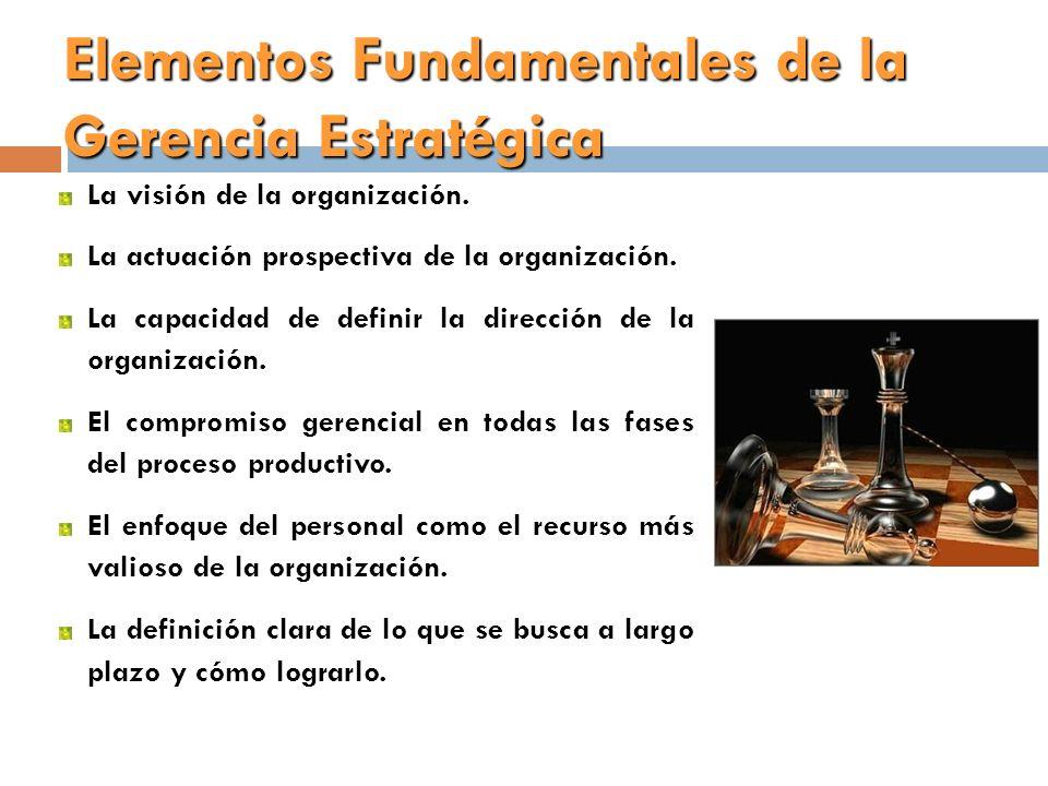 Elementos Fundamentales de la Gerencia Estratégica La visión de la organización. La actuación prospectiva de la organización. La capacidad de definir