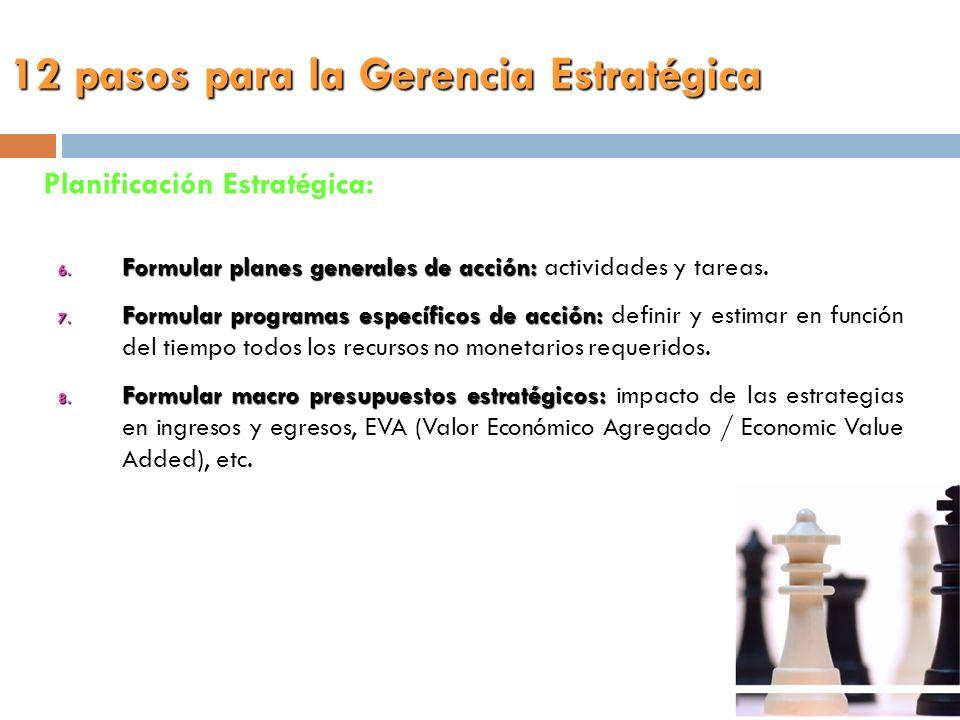 6. Formular planes generales de acción: 6. Formular planes generales de acción: actividades y tareas. 7. Formular programas específicos de acción: 7.