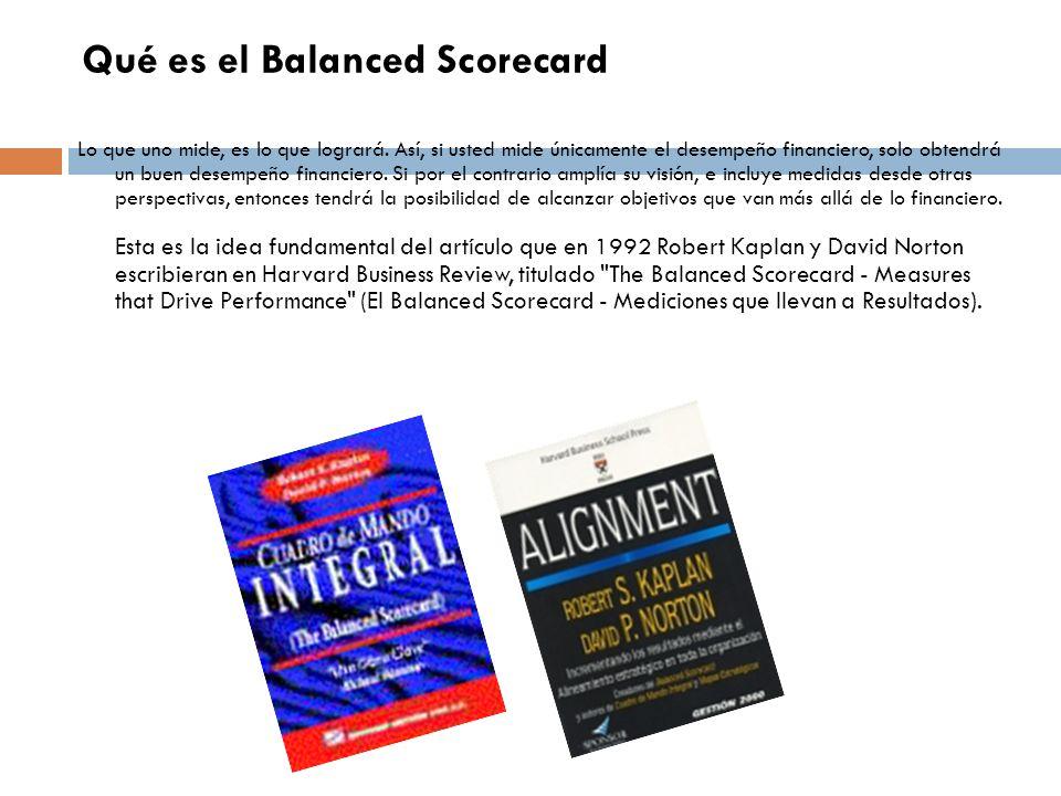 Qué es el Balanced Scorecard Lo que uno mide, es lo que logrará. Así, si usted mide únicamente el desempeño financiero, solo obtendrá un buen desempeñ
