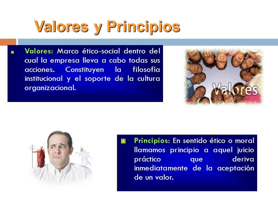 Valores: Marco ético-social dentro del cual la empresa lleva a cabo todas sus acciones. Constituyen la filosofía institucional y el soporte de la cult