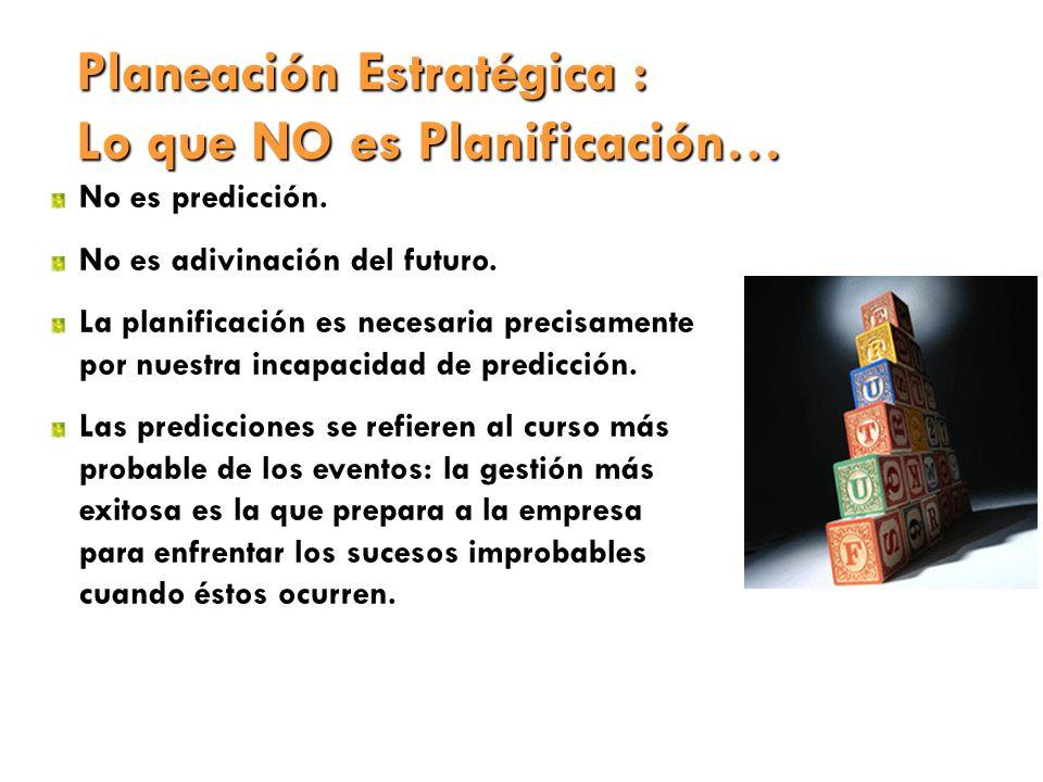 Planeación Estratégica : Lo que NO es Planificación… No es predicción. No es adivinación del futuro. La planificación es necesaria precisamente por nu