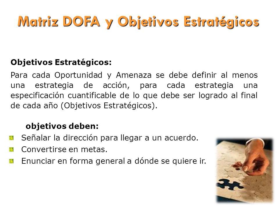 Matriz DOFA y Objetivos Estratégicos Los objetivos deben: Señalar la dirección para llegar a un acuerdo. Convertirse en metas. Enunciar en forma gener