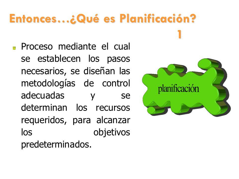 Entonces…¿Qué es Planificación? 1 Proceso mediante el cual se establecen los pasos necesarios, se diseñan las metodologías de control adecuadas y se d