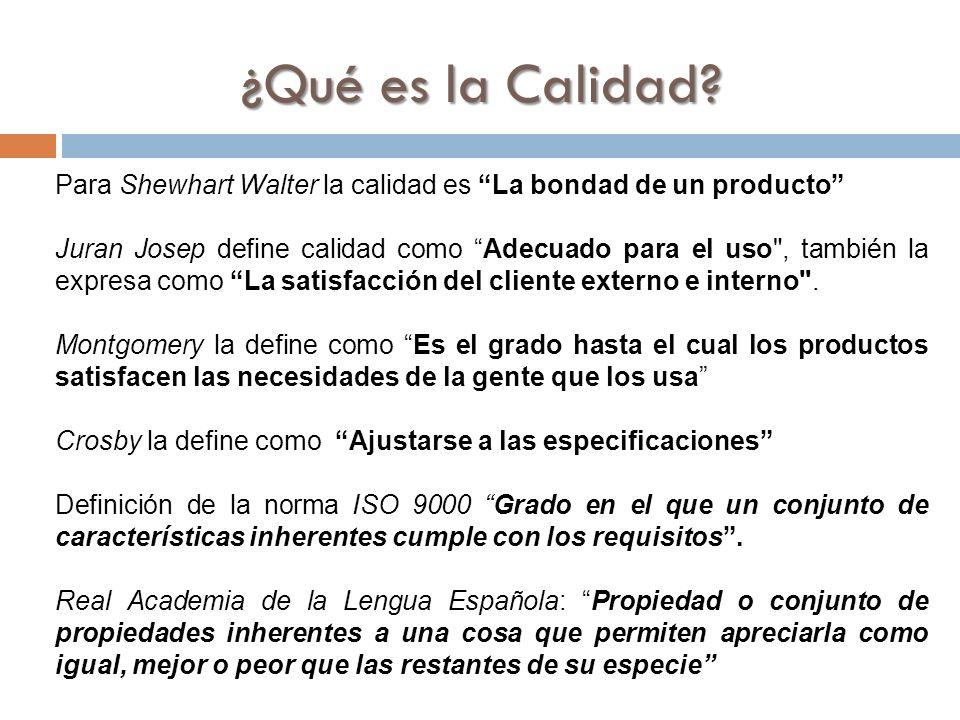 Para Shewhart Walter la calidad es La bondad de un producto Juran Josep define calidad como Adecuado para el uso