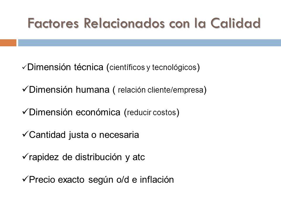 Dimensión técnica ( científicos y tecnológicos ) Dimensión humana ( relación cliente/empresa ) Dimensión económica ( reducir costos ) Cantidad justa o