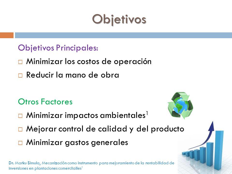 Objetivos Objetivos Principales: Minimizar los costos de operación Reducir la mano de obra Otros Factores Minimizar impactos ambientales 1 Mejorar con