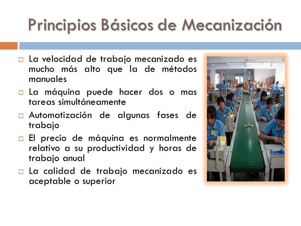 Principios Básicos de Mecanización La velocidad de trabajo mecanizado es mucho más alto que la de métodos manuales La máquina puede hacer dos o mas ta
