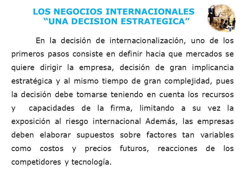 En la decisión de internacionalización, uno de los primeros pasos consiste en definir hacia que mercados se quiere dirigir la empresa, decisión de gra