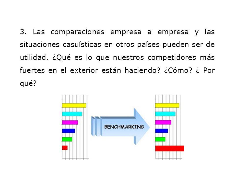 3. Las comparaciones empresa a empresa y las situaciones casuísticas en otros países pueden ser de utilidad. ¿Qué es lo que nuestros competidores más