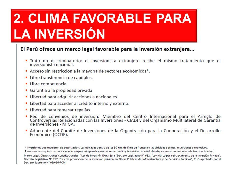 2. CLIMA FAVORABLE PARA LA INVERSIÓN