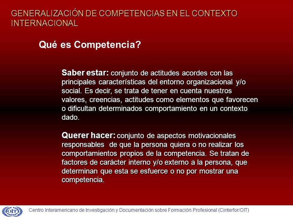 GENERALIZACIÓN DE COMPETENCIAS EN EL CONTEXTO INTERNACIONAL Saber estar: conjunto de actitudes acordes con las principales características del entorno organizacional y/o social.