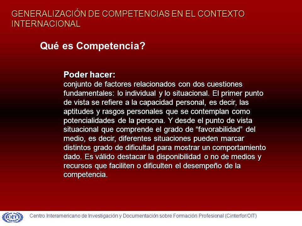 GENERALIZACIÓN DE COMPETENCIAS EN EL CONTEXTO INTERNACIONAL Poder hacer: conjunto de factores relacionados con dos cuestiones fundamentales: lo individual y lo situacional.