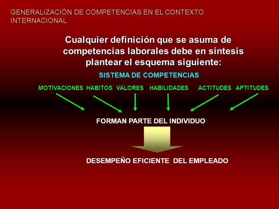Cualquier definición que se asuma de competencias laborales debe en síntesis plantear el esquema siguiente: SISTEMA DE COMPETENCIAS MOTIVACIONESHABITOSVALORESHABILIDADESACTITUDESAPTITUDES FORMAN PARTE DEL INDIVIDUO DESEMPEÑO EFICIENTE DEL EMPLEADO GENERALIZACIÓN DE COMPETENCIAS EN EL CONTEXTO INTERNACIONAL