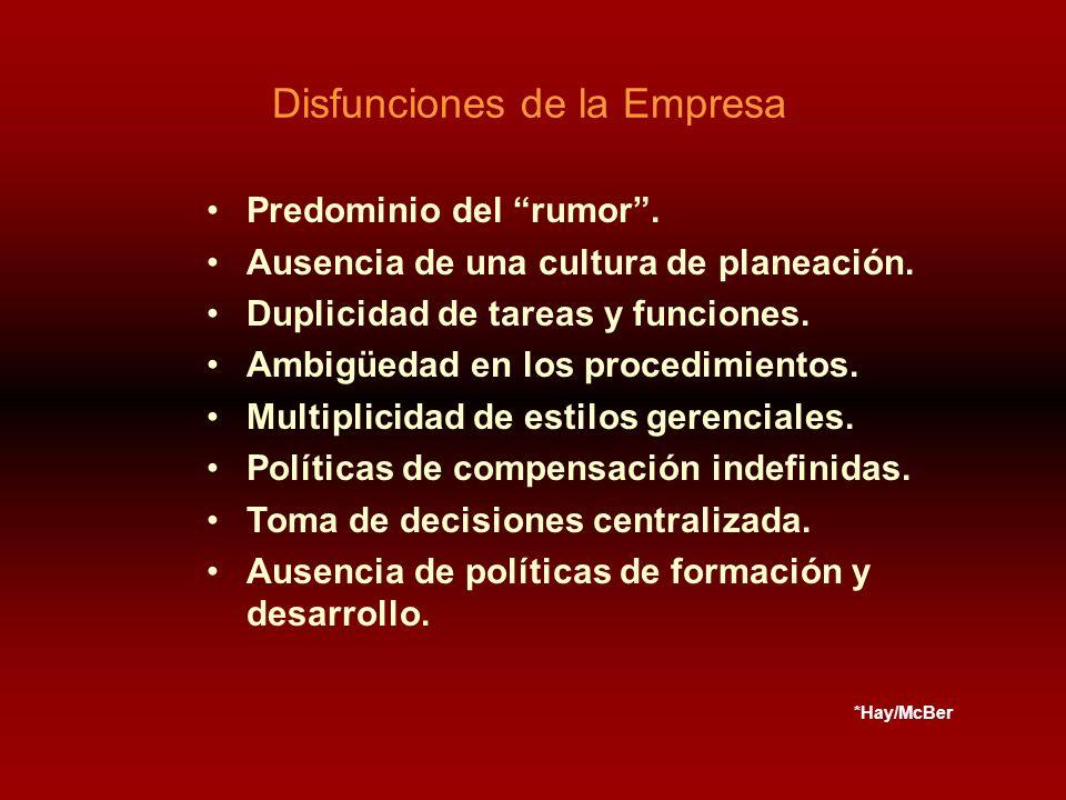 Predominio del rumor. Ausencia de una cultura de planeación.