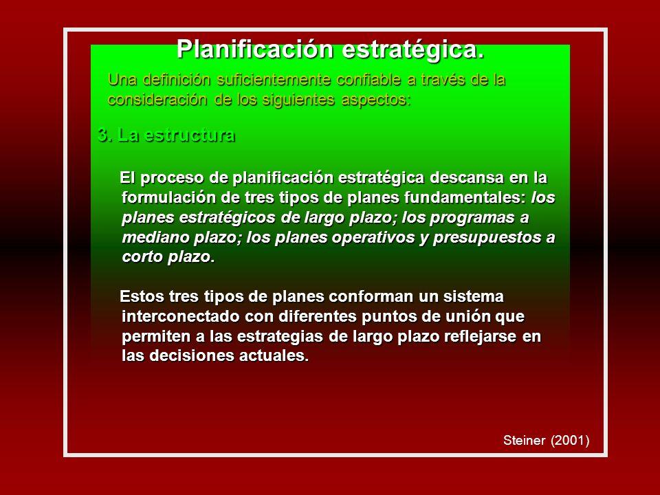 3. La estructura El proceso de planificación estratégica descansa en la formulación de tres tipos de planes fundamentales: los planes estratégicos de