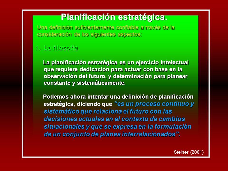 1.La filosofía La planificación estratégica es un ejercicio intelectual que requiere dedicación para actuar con base en la observación del futuro, y determinación para planear constante y sistemáticamente.