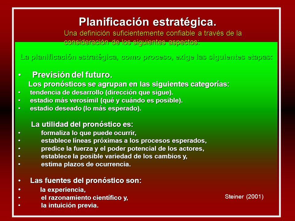 La planificación estratégica, como proceso, exige las siguientes etapas: Previsión del futuro.