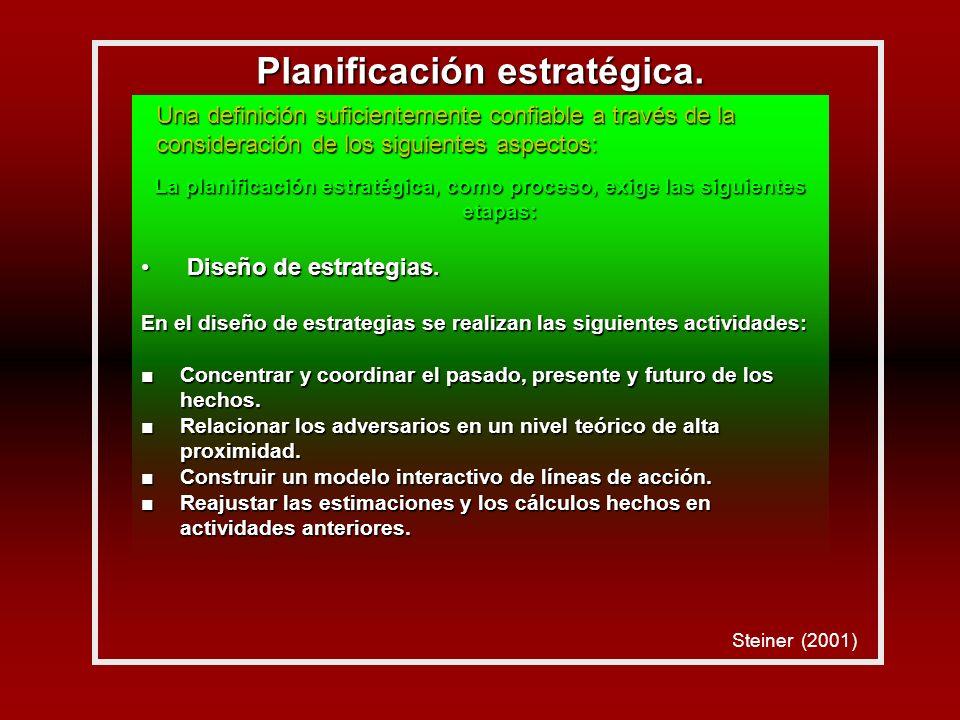 La planificación estratégica, como proceso, exige las siguientes etapas: Diseño de estrategias.