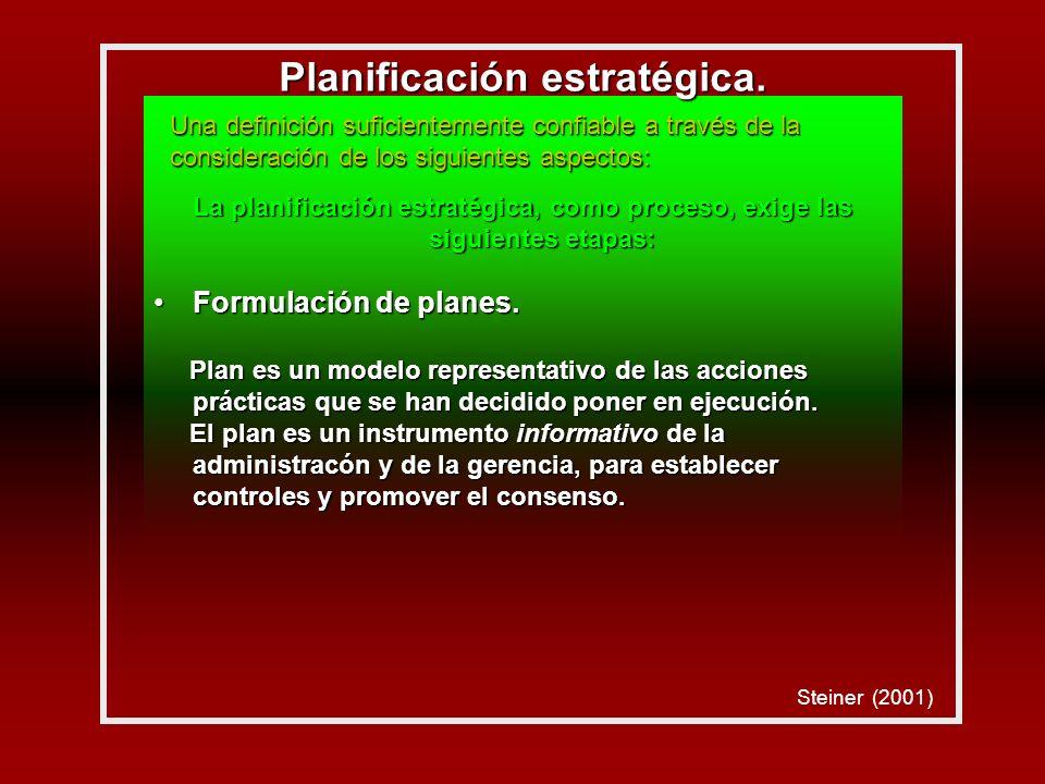 La planificación estratégica, como proceso, exige las siguientes etapas: Formulación de planes.Formulación de planes.