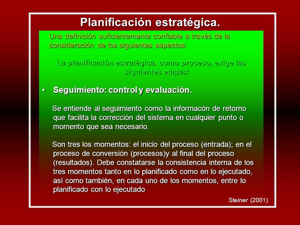 La planificación estratégica, como proceso, exige las siguientes etapas: Seguimiento: control y evaluación.Seguimiento: control y evaluación.