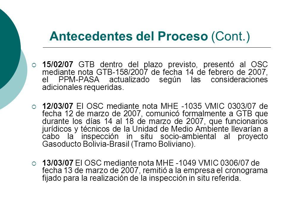 15/02/07 GTB dentro del plazo previsto, presentó al OSC mediante nota GTB-158/2007 de fecha 14 de febrero de 2007, el PPM-PASA actualizado según las c