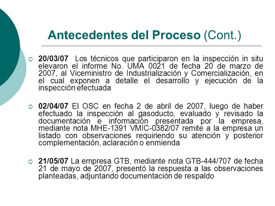 20/03/07 Los técnicos que participaron en la inspección in situ elevaron el informe No. UMA 0021 de fecha 20 de marzo de 2007, al Viceministro de Indu