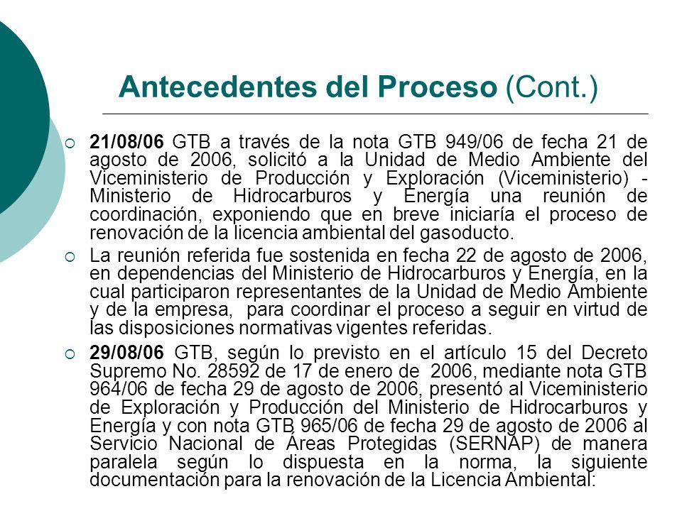 21/08/06 GTB a través de la nota GTB 949/06 de fecha 21 de agosto de 2006, solicitó a la Unidad de Medio Ambiente del Viceministerio de Producción y E