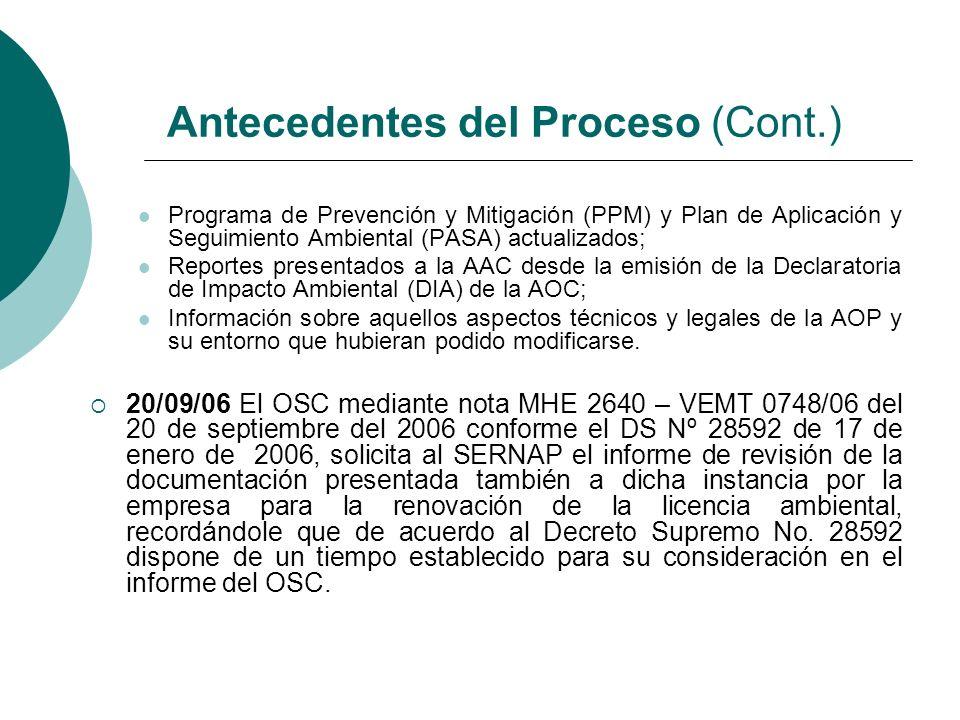 26/09/06 El Viceministro de Exploración y Producción del Ministerio de Hidrocarburos y Energía, en cumplimiento de lo previsto en el inciso b) del artículo 15 antes citado, solicitó a la empresa GTB, mediante nota MHE 2630 – VMEP 0747/06 de 20 de septiembre de 2006, la presentación de la información sistematizada de acuerdo a la matriz de verificación del cumplimiento del PPM-PASA y otras medidas de mitigación implementadas en sus diferentes fases del proyecto en función a los MOA´s, disponiendo para tal efecto, que a partir de la presentación por parte de la empresa de la matriz debidamente llenada, se computarizaría el plazo establecido en la norma para la revisión por parte del OSC de la documentación.