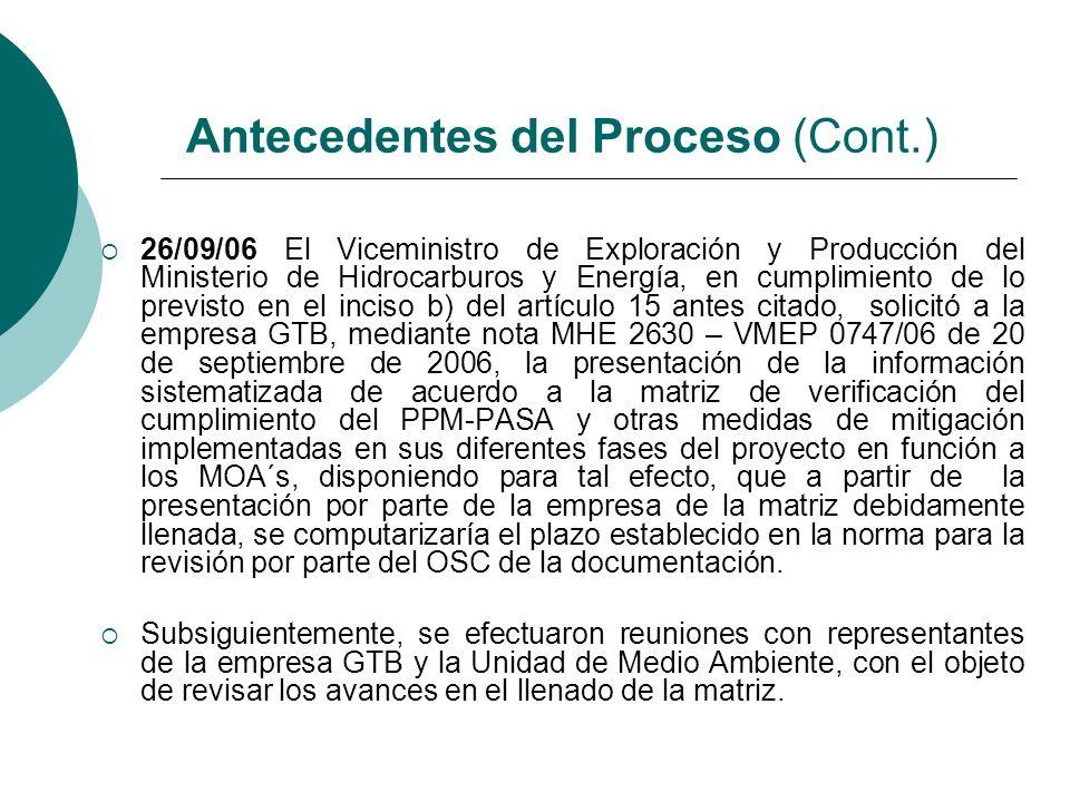 18/12/06 GTB el 18 de diciembre de 2006, mediante nota GTB – 1308/2006 presentó al OSC la matriz de verificación de cumplimiento requerida, en copia física y digital 19/12/06 Se efectuó una reunión con representantes de la empresa GTB y la Unidad de Medio Ambiente, en la cual se efectuó una revisión conjunta de la matriz de verificación de cumplimiento presentada por la empresa.