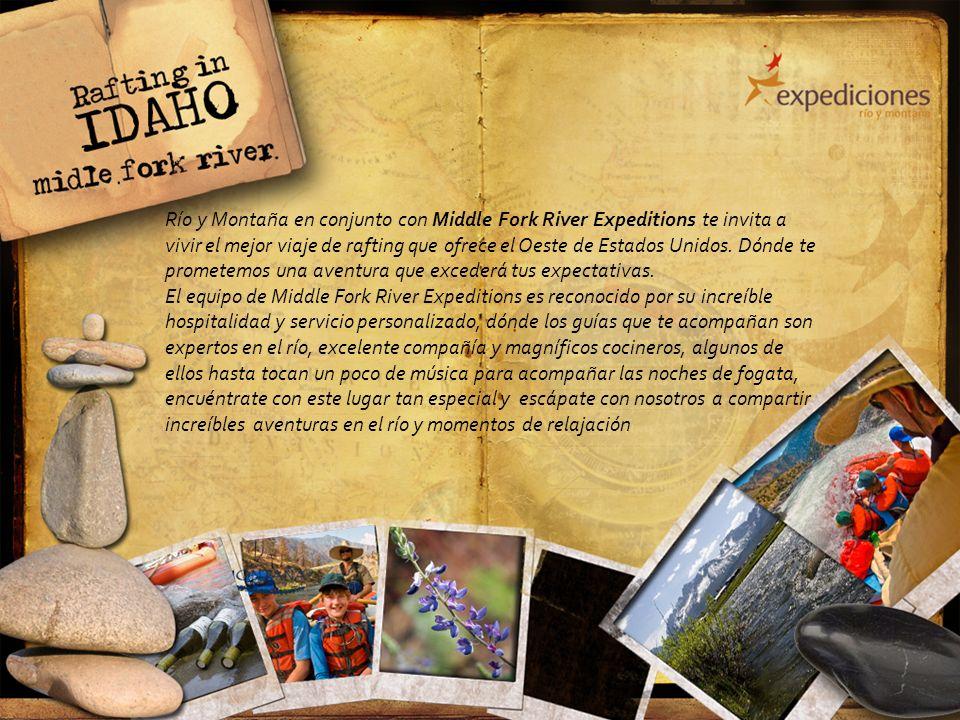 Río y Montaña en conjunto con Middle Fork River Expeditions te invita a vivir el mejor viaje de rafting que ofrece el Oeste de Estados Unidos. Dónde t