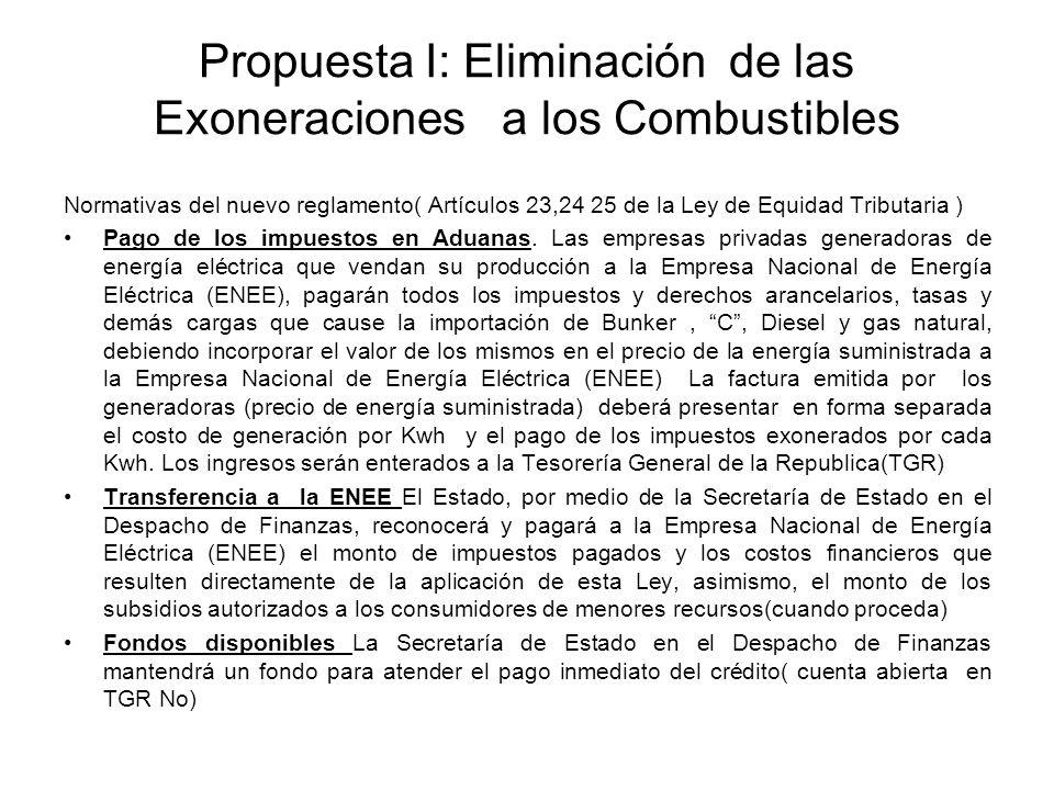 Propuesta I: Eliminación de las Exoneraciones a los Combustibles Normativas del nuevo reglamento( Artículos 23,24 25 de la Ley de Equidad Tributaria ) Pago de los impuestos en Aduanas.