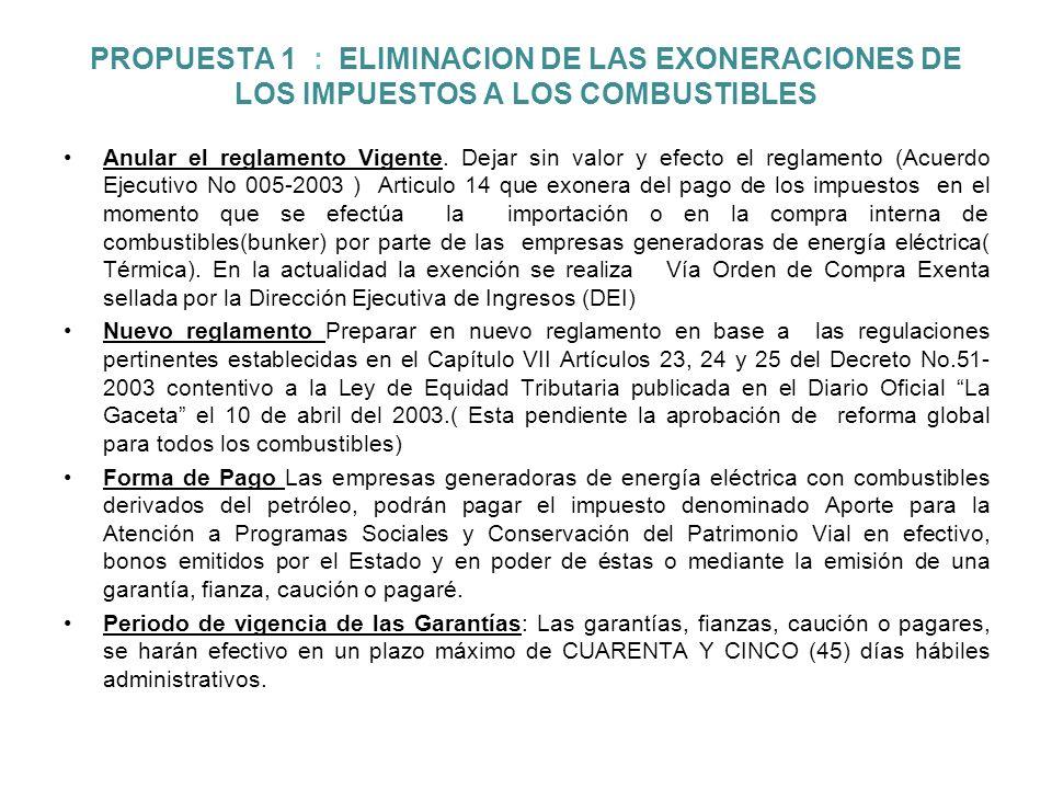 PROPUESTA 1 : ELIMINACION DE LAS EXONERACIONES DE LOS IMPUESTOS A LOS COMBUSTIBLES Anular el reglamento Vigente.