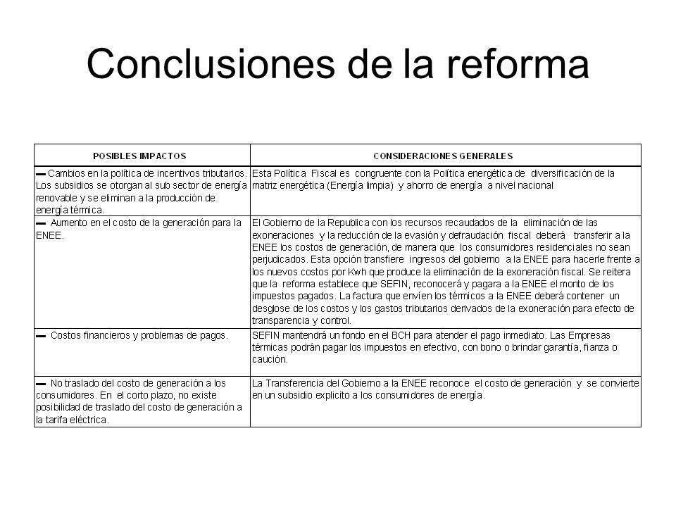Conclusiones de la reforma