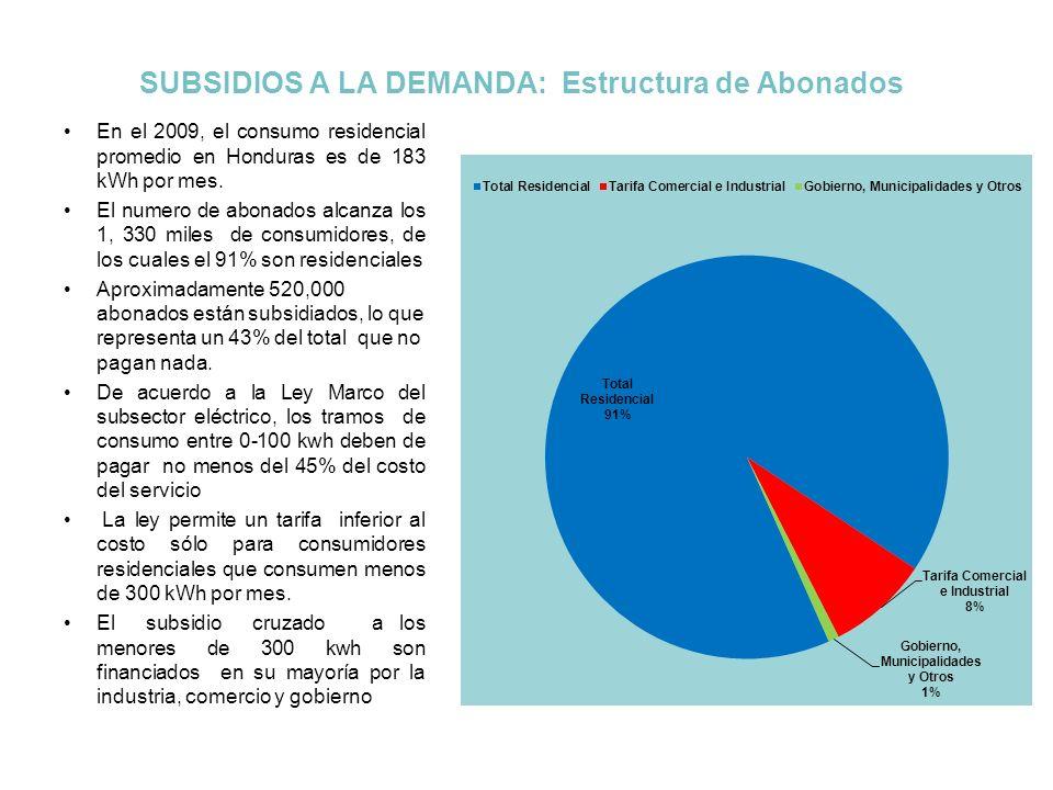 Subsidio Cruzado La Ley Marco del Subsector Eléctrico permite incorporar en las tarifas un subsidio cruzado a favor de los pequeños consumidores residenciales.