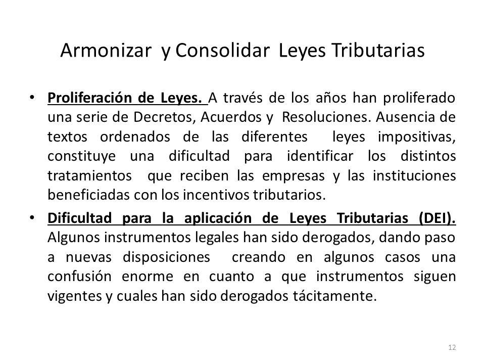 Armonizar y Consolidar Leyes Tributarias Proliferación de Leyes. A través de los años han proliferado una serie de Decretos, Acuerdos y Resoluciones.