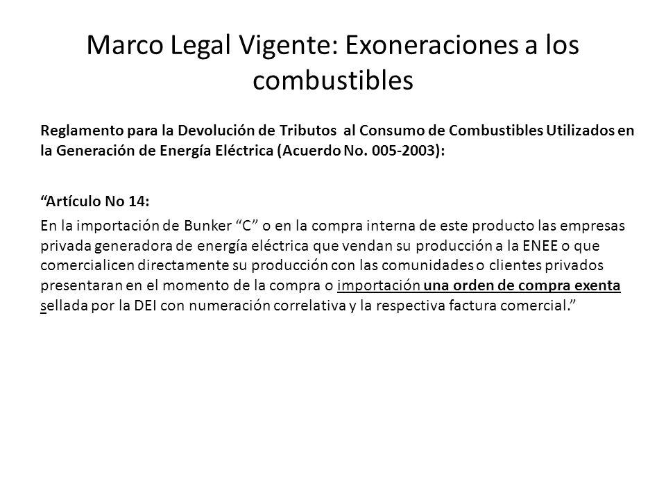 Marco Legal Vigente: Exoneraciones a los combustibles Reglamento para la Devolución de Tributos al Consumo de Combustibles Utilizados en la Generación