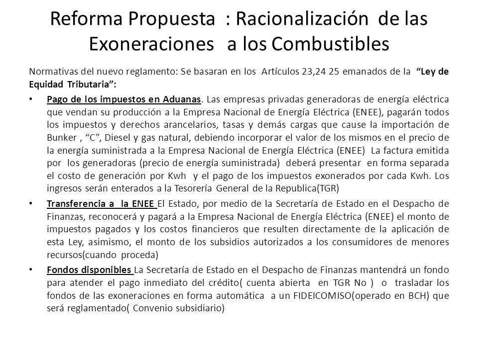 Reforma Propuesta : Racionalización de las Exoneraciones a los Combustibles Normativas del nuevo reglamento: Se basaran en los Artículos 23,24 25 emanados de la Ley de Equidad Tributaria: Pago de los impuestos en Aduanas.