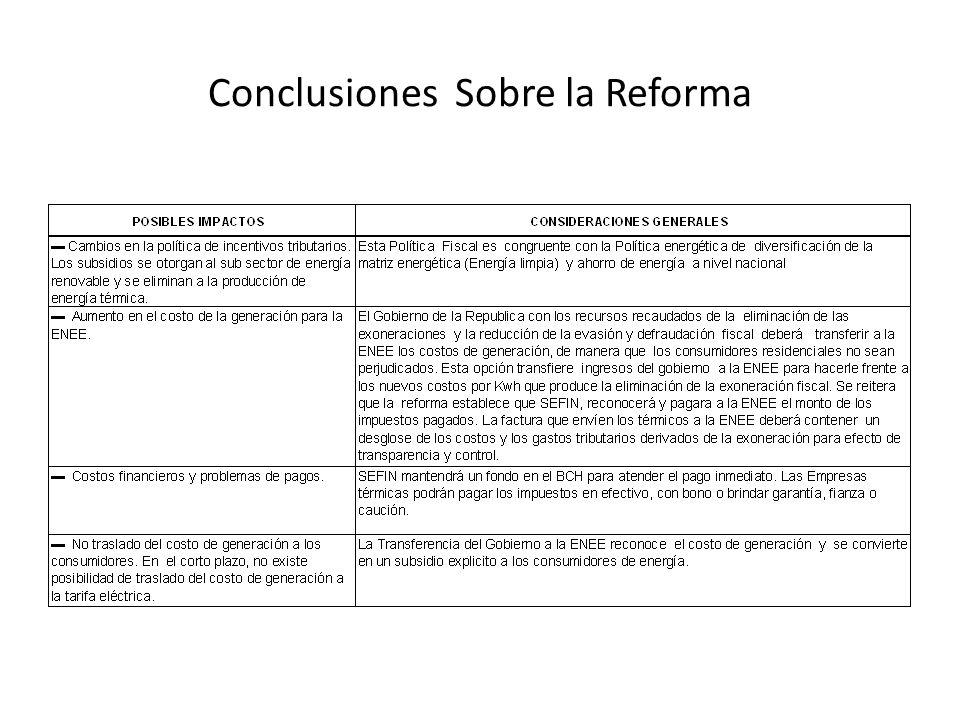 Conclusiones Sobre la Reforma