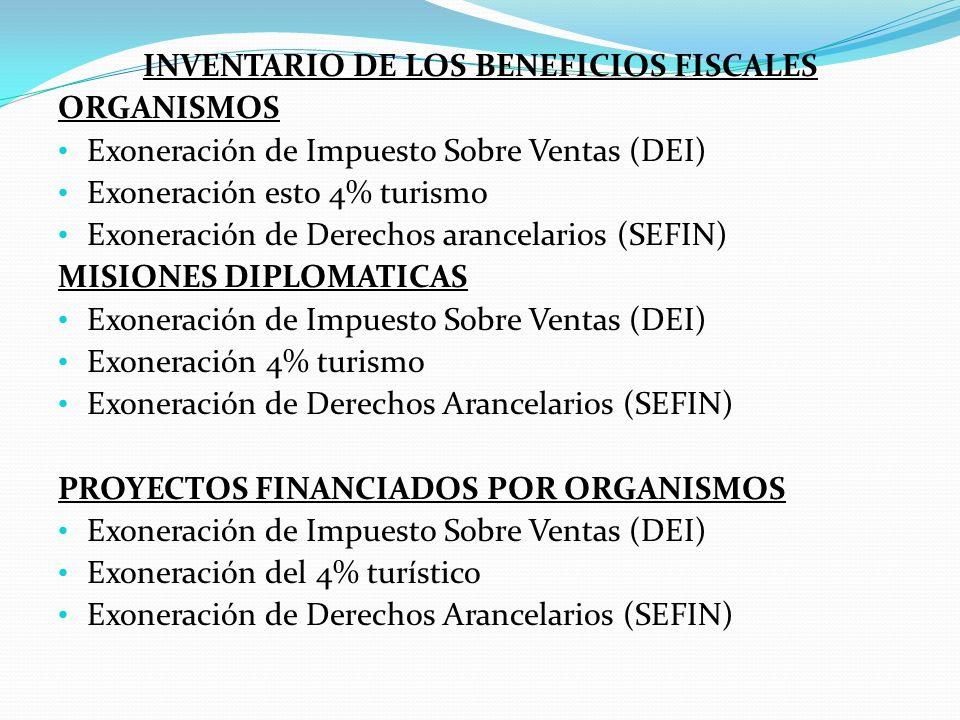 INVENTARIO DE LOS BENEFICIOS FISCALES ORGANISMOS Exoneración de Impuesto Sobre Ventas (DEI) Exoneración esto 4% turismo Exoneración de Derechos arancelarios (SEFIN) MISIONES DIPLOMATICAS Exoneración de Impuesto Sobre Ventas (DEI) Exoneración 4% turismo Exoneración de Derechos Arancelarios (SEFIN) PROYECTOS FINANCIADOS POR ORGANISMOS Exoneración de Impuesto Sobre Ventas (DEI) Exoneración del 4% turístico Exoneración de Derechos Arancelarios (SEFIN)