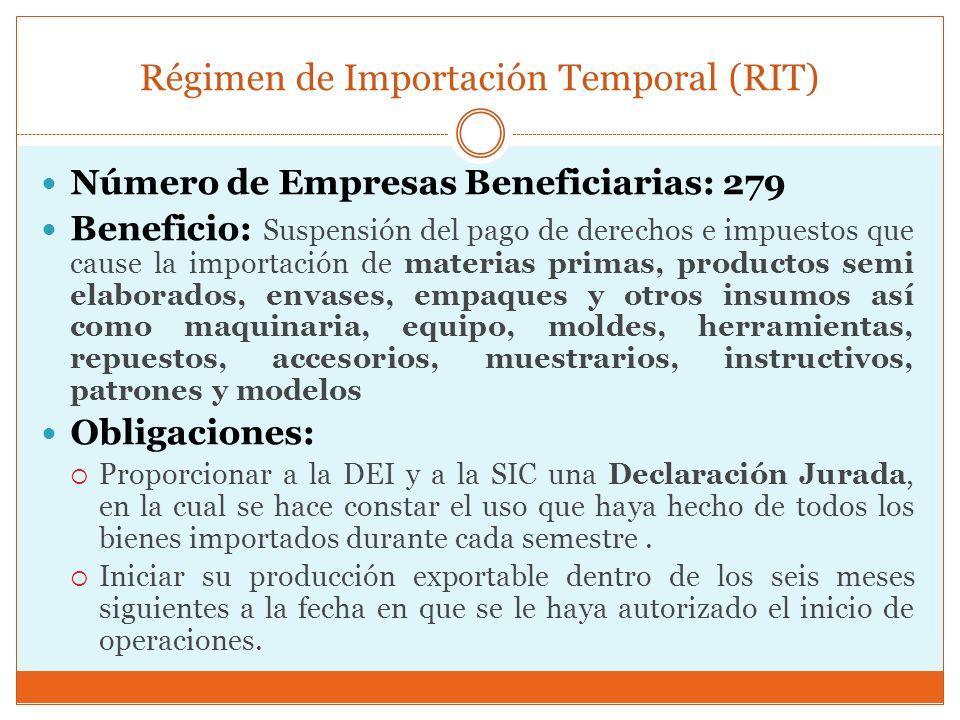 Régimen de Importación Temporal (RIT) Número de Empresas Beneficiarias: 279 Beneficio: Suspensión del pago de derechos e impuestos que cause la import