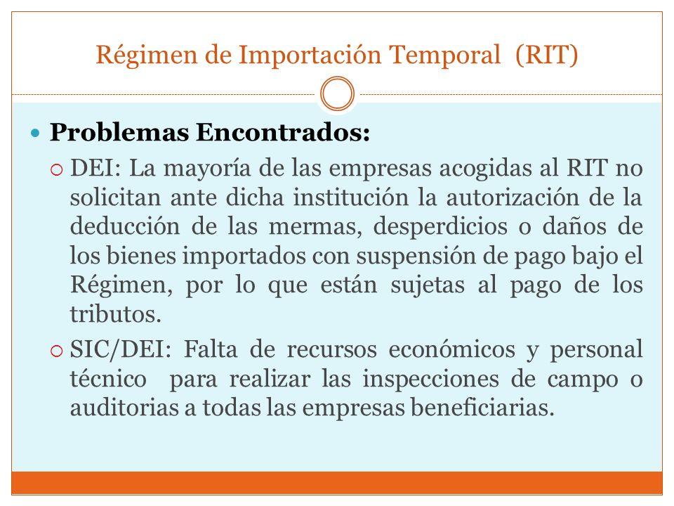 Régimen de Importación Temporal (RIT) Problemas Encontrados: DEI: La mayoría de las empresas acogidas al RIT no solicitan ante dicha institución la au