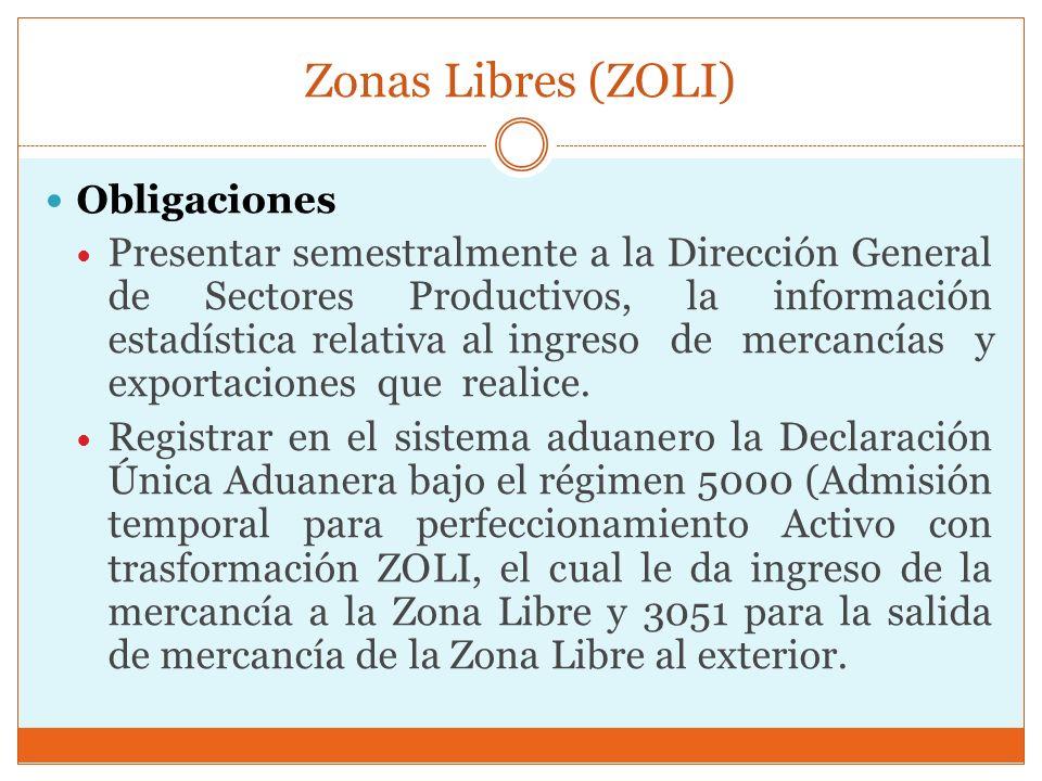 Zonas Libres (ZOLI) Obligaciones Presentar semestralmente a la Dirección General de Sectores Productivos, la información estadística relativa al ingre