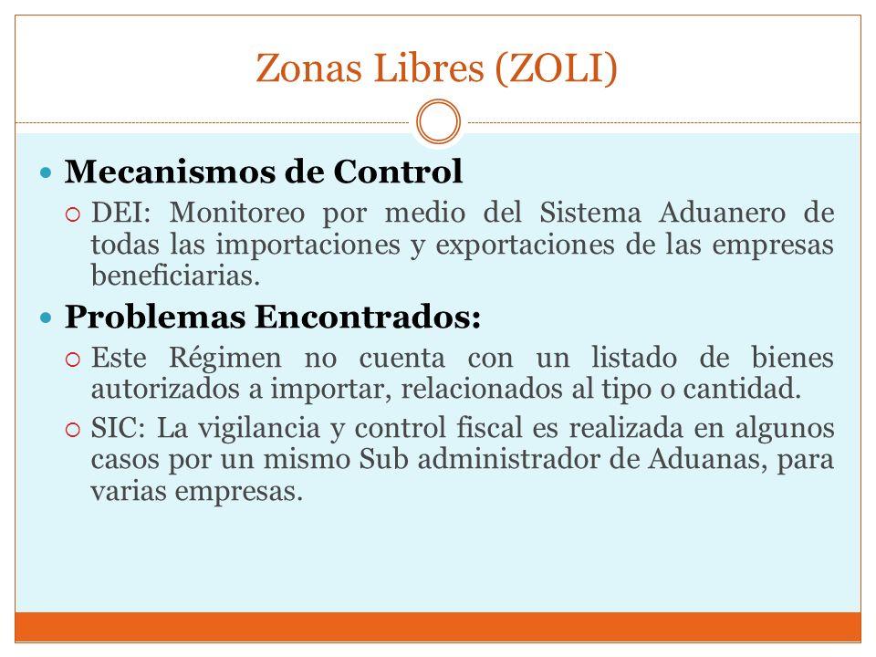Zonas Libres (ZOLI) Mecanismos de Control DEI: Monitoreo por medio del Sistema Aduanero de todas las importaciones y exportaciones de las empresas ben