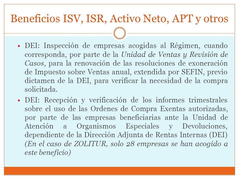 Beneficios ISV, ISR, Activo Neto, APT y otros DEI: Inspección de empresas acogidas al Régimen, cuando corresponda, por parte de la Unidad de Ventas y