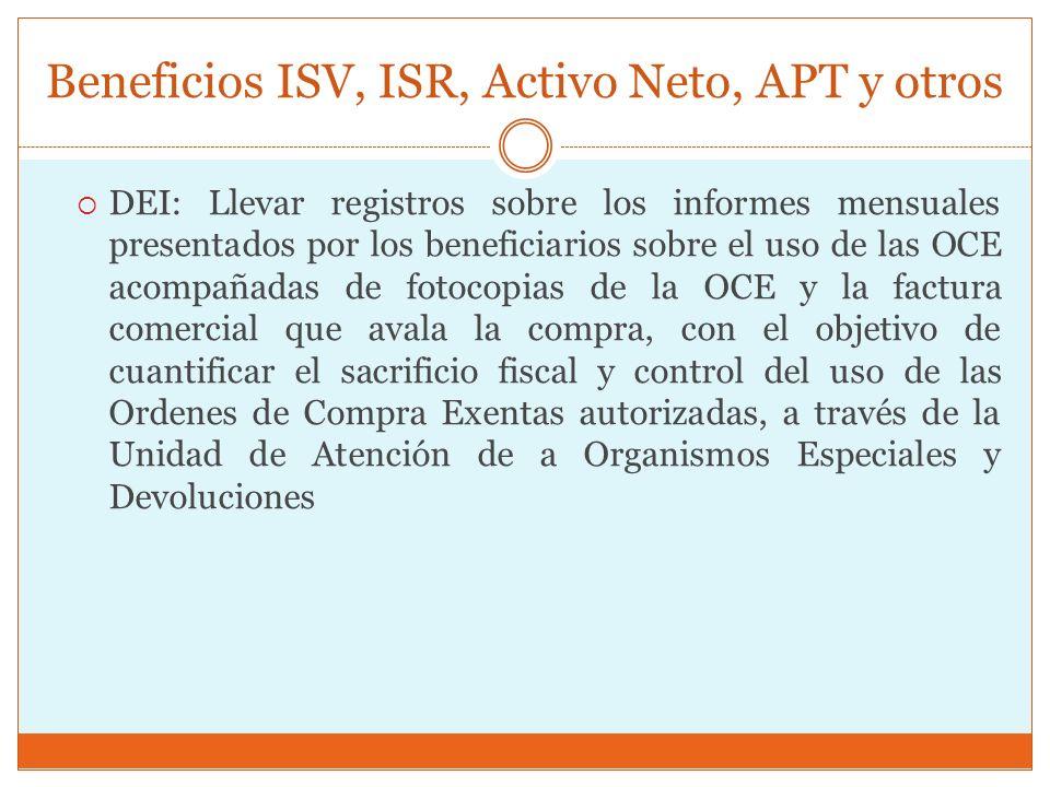 Beneficios ISV, ISR, Activo Neto, APT y otros DEI: Llevar registros sobre los informes mensuales presentados por los beneficiarios sobre el uso de las