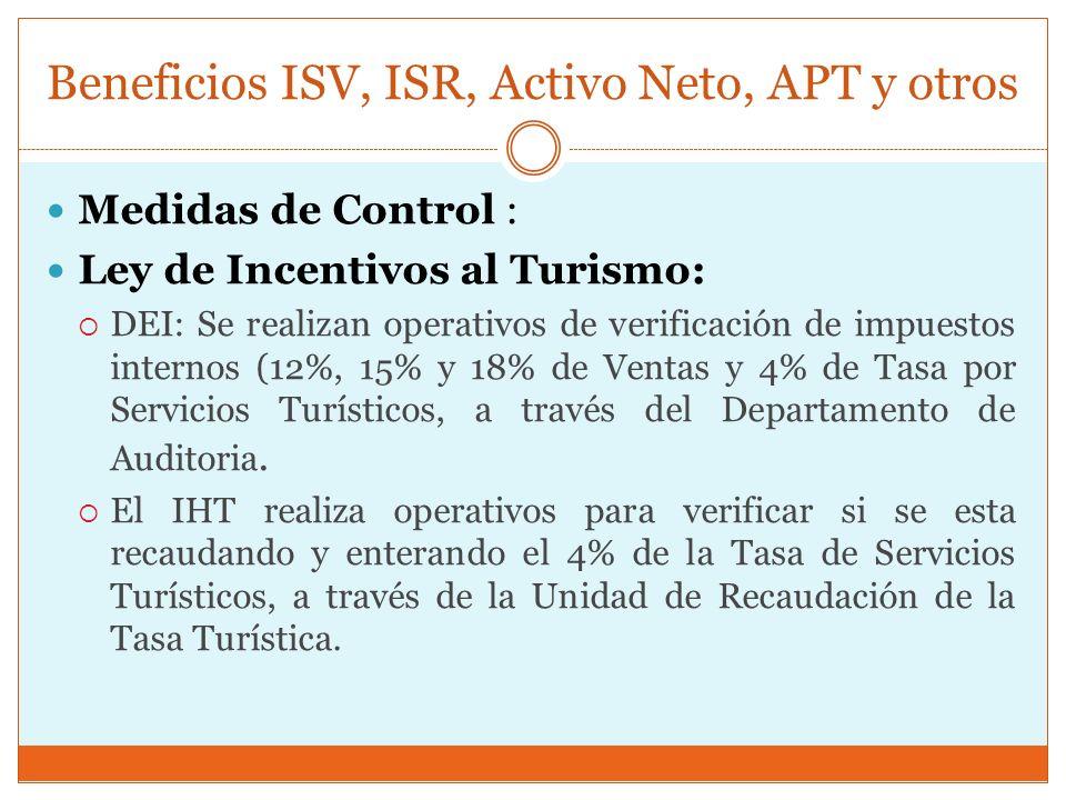 Beneficios ISV, ISR, Activo Neto, APT y otros Medidas de Control : Ley de Incentivos al Turismo: DEI: Se realizan operativos de verificación de impues