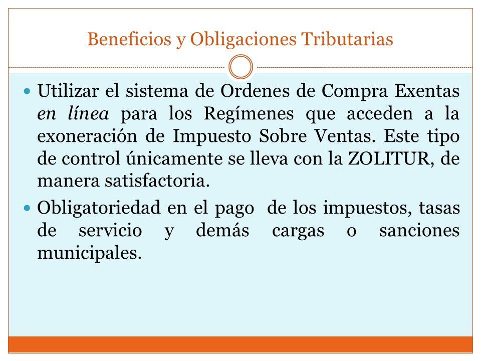 Utilizar el sistema de Ordenes de Compra Exentas en línea para los Regímenes que acceden a la exoneración de Impuesto Sobre Ventas. Este tipo de contr