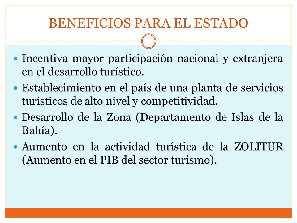 BENEFICIOS PARA EL ESTADO Incentiva mayor participación nacional y extranjera en el desarrollo turístico. Establecimiento en el país de una planta de