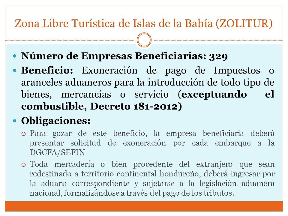 Zona Libre Turística de Islas de la Bahía (ZOLITUR) Número de Empresas Beneficiarias: 329 Beneficio: Exoneración de pago de Impuestos o aranceles adua