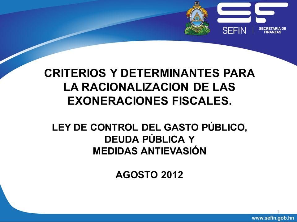 I.Criterios y determinantes Emergencia Fiscal. Elevado Gasto Tributario.